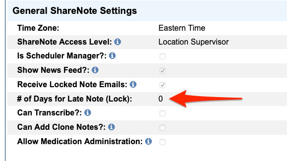Image shows the General ShareNote Settings options.